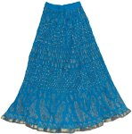 Crinkle Long Summer Skirt in Allports Blue