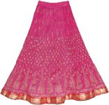 Long Crinkled Cotton Fuschia Skirt