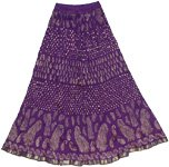 Japanese Eggplant Crinkled Cotton Skirt