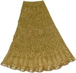 Golden Block Print on Olive Crinkle Skirt