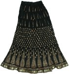 Black Golden Crinkle Long Skirt