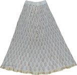 White Royal Crinkle Long Skirt