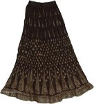 Dark Cocoa Crinkle Long Skirt