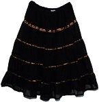 Bohemian Copper Ribbon Georgette Black Skirt