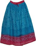 Bohemian Style Blue Pink Long Skirt