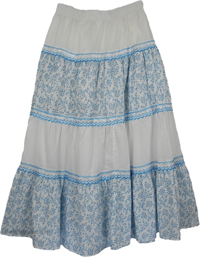 Happy Blues Lace Cotton Long Skirt | Clearance | White-Skirts ...