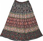 Boho Floral Printed Long Skirt