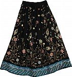 Black Sequin Long Skirt with Peacock Print