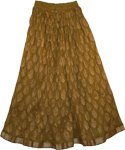 Raw Umber Crinkle Long Skirt