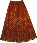 Crinkle Long Summer Skirt in Kenyan Copper