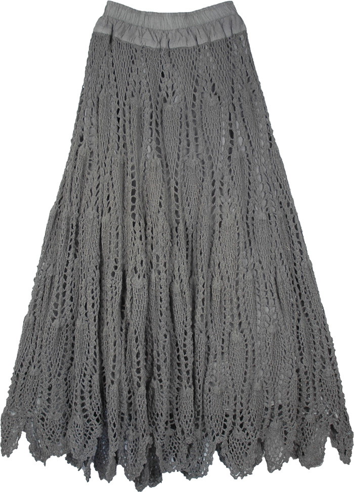 Grey Crocheted Pattern Cotton Long Skirt | Clothing | Crochet-Clothing