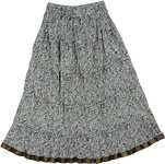 Tai Chi Black White Crinkled Cotton Long Skirt