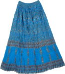 Ethnic Crinkled Skirt in Blue Charm