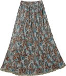 Rust Blue Boho Crinkled Ladies Long Skirt