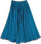 Blues Crinkled Cotton Long Skirt
