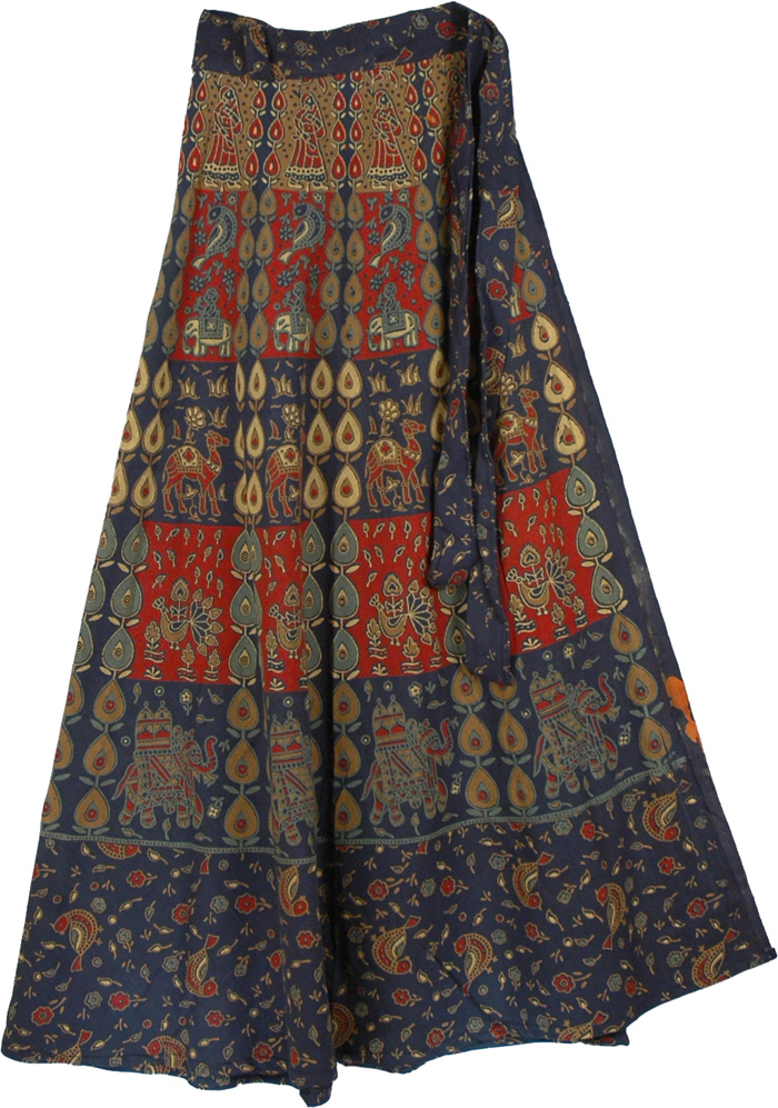 Potters Clay Blue Gypsy Wrap Skirt Wrap Around Skirt