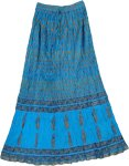Crinkled Summer Blue Charm Long Skirt