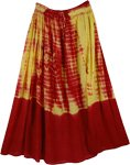 Red Skins Chiffon Tie Dye Long Skirt
