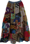 Bloodstone Patchwork Floral Summer Skirt