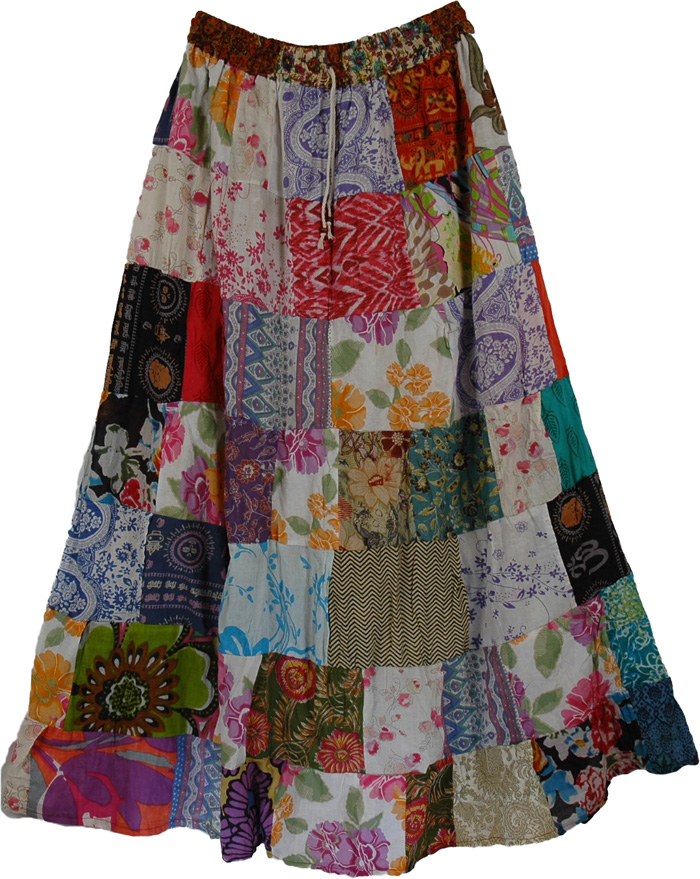 Pearl Hippy Cotton Long Skirt | Clothing | patchwork