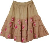 Dainty Rose Flared Fashion Stylish Skirt