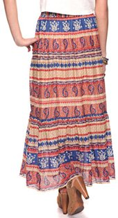 Paisley Print Light Maxi Skirt