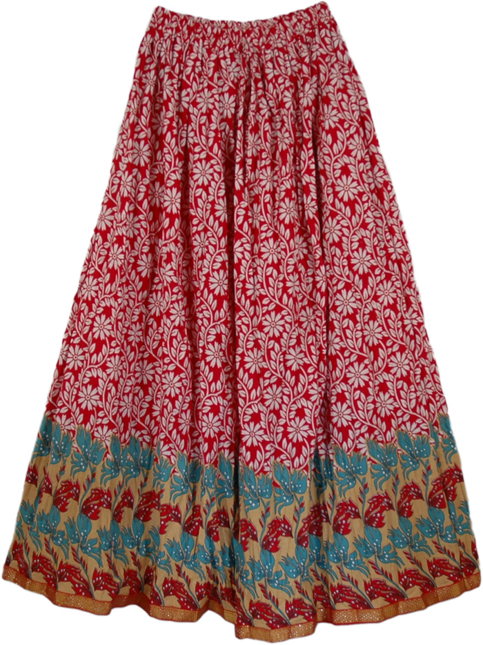 Red Sugar Cotton Long Skirt | Clearance | Sale|18.99|
