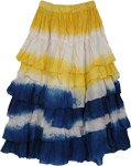 Oceans Yellow Blue Tie Dye Layered Skirt