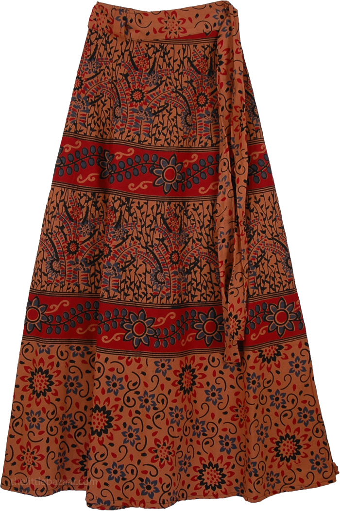 Brown Rust Floral Long Skirt | Clothing | Wrap-Around-Skirt