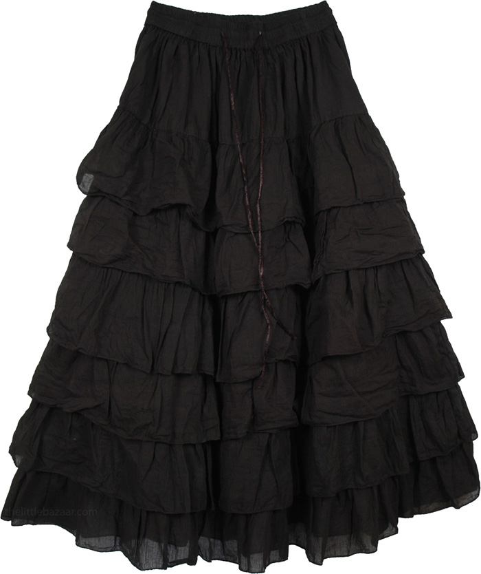 Long Tiered Skirt - Skirts