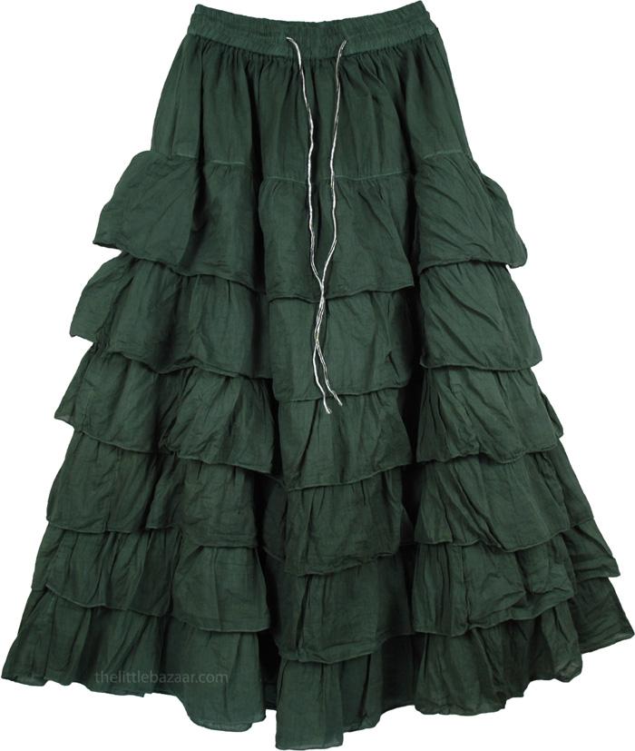 Long Green Layered Skirt Tiered Skirt