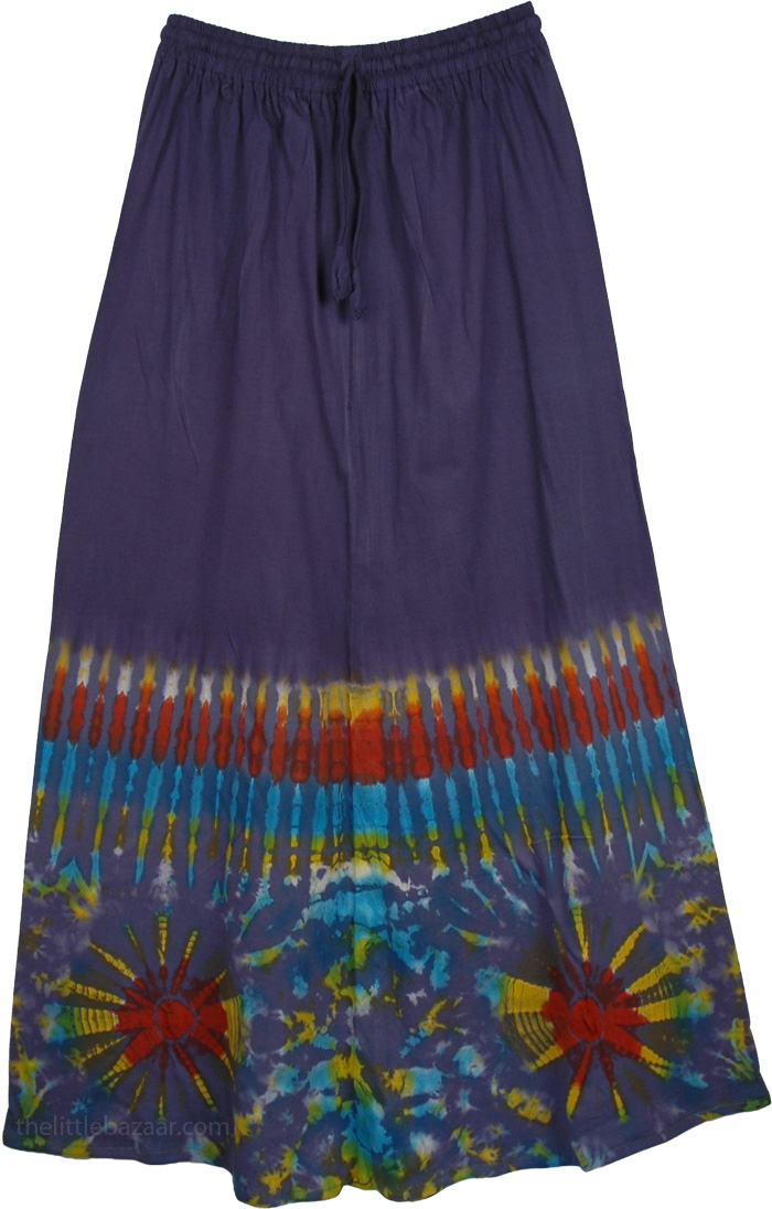 Pickled Blue Tie Dye Hippie Skirt in Jersey Cotton