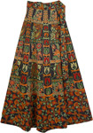 Multicolor Blue Ethnic Long Wrap Skirt