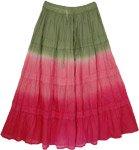 Tie Dye Long Skirt Hibiscus Charm