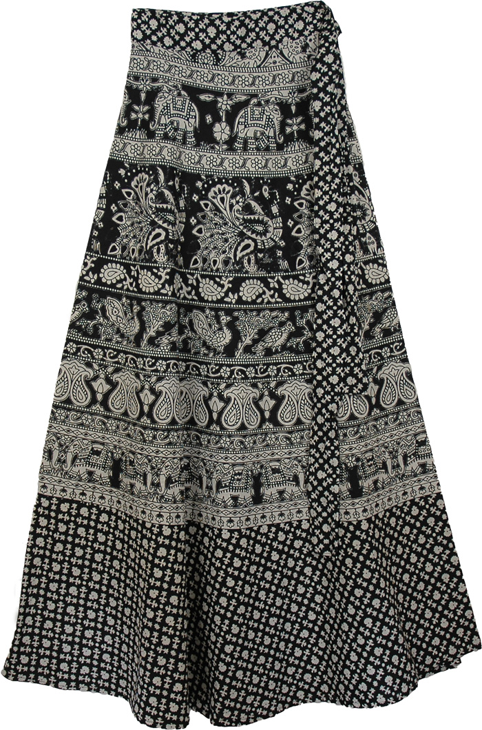Mongolian Black and White Skirt | Clothing | Wrap-Around-Skirt ...