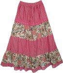 Contessa Pink Floral Womens Skirt