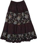 Black Bali Blue Floral Skirt