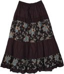 Black Bali Blue Floral Cotton Long Skirt