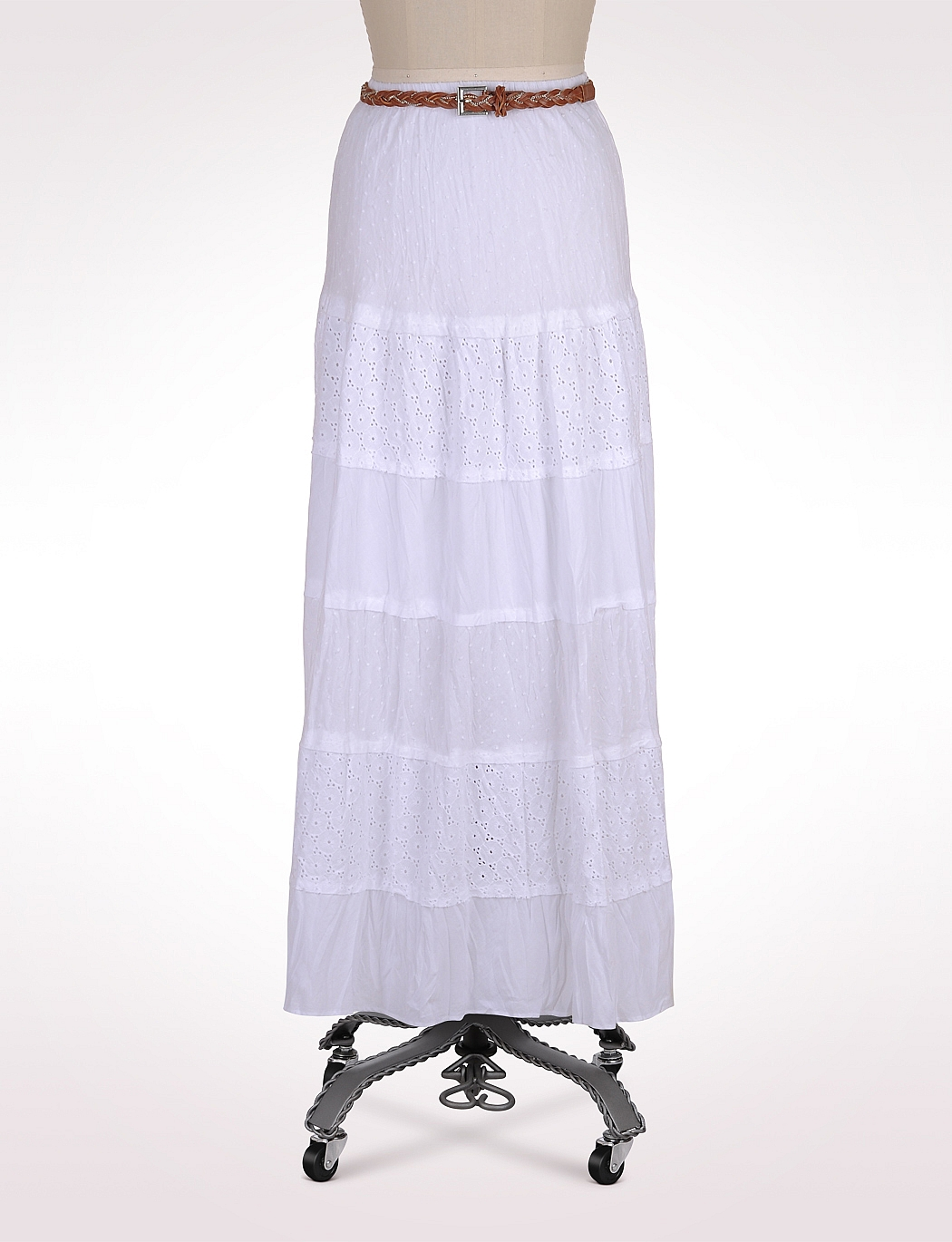 Tiered Eyelet Swiss Dot Maxi White Skirt | Clothing | White-Skirts ...