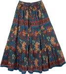Blumine Floral Print Cotton Long Skirt