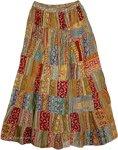 Earthen Patchwork Long Skirt