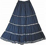 Navy Blue Sequined Long Skirt
