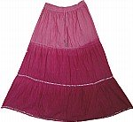 Pink Cotton Sequin Long Skirt