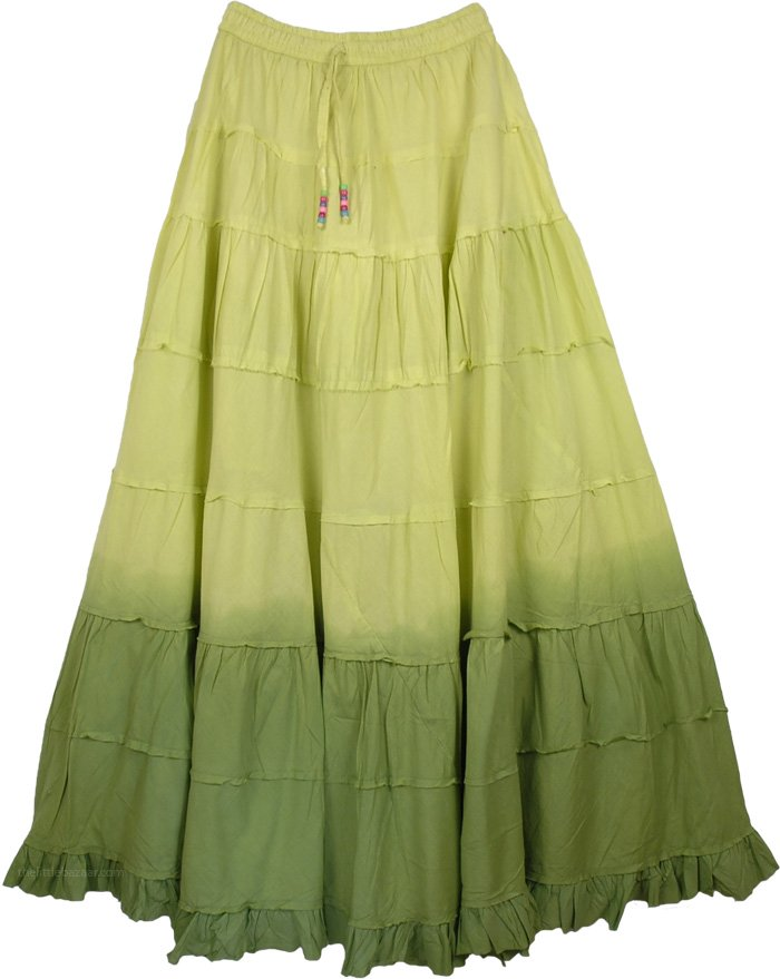 Military Ombre Green Frills Long Skirt