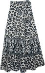 Grey Leopard Print Wrap Skirt
