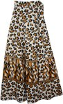 Brown Leopard Print Wrap Skirt