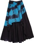 High Low Black Blue Cotton Skirt