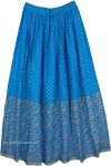 Blue Punch Crinkled Cotton Light Beach Skirt