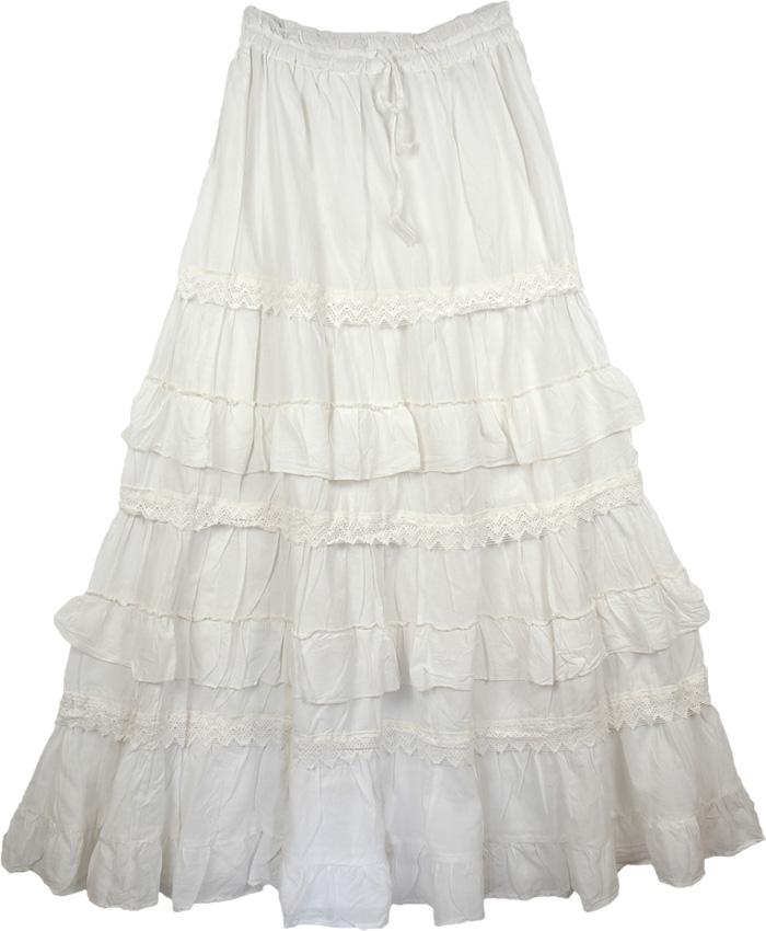 White Long Cotton Skirt - Skirts
