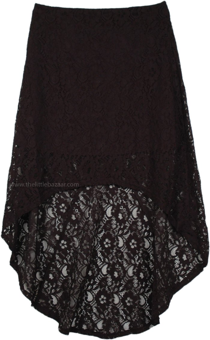 Hi Low Black Lace Skirt